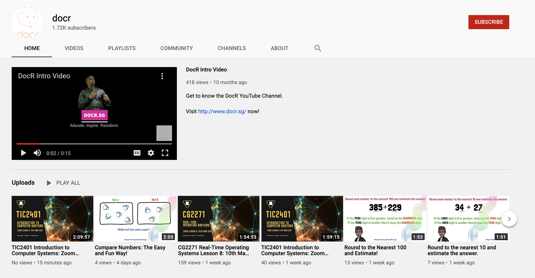 Screenshot of Ravi Suppiah's DocR YouTube channel.